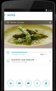 Dropbox, audio, video, photo file attachments