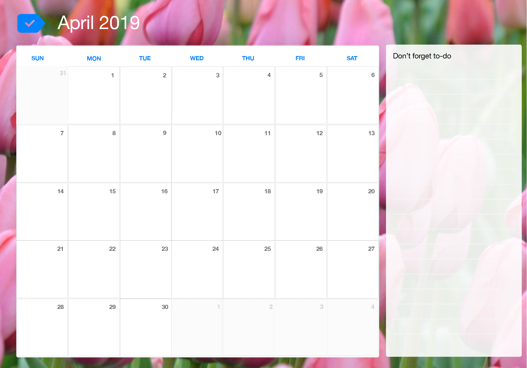 April 2019 Printable Calendar Any Do
