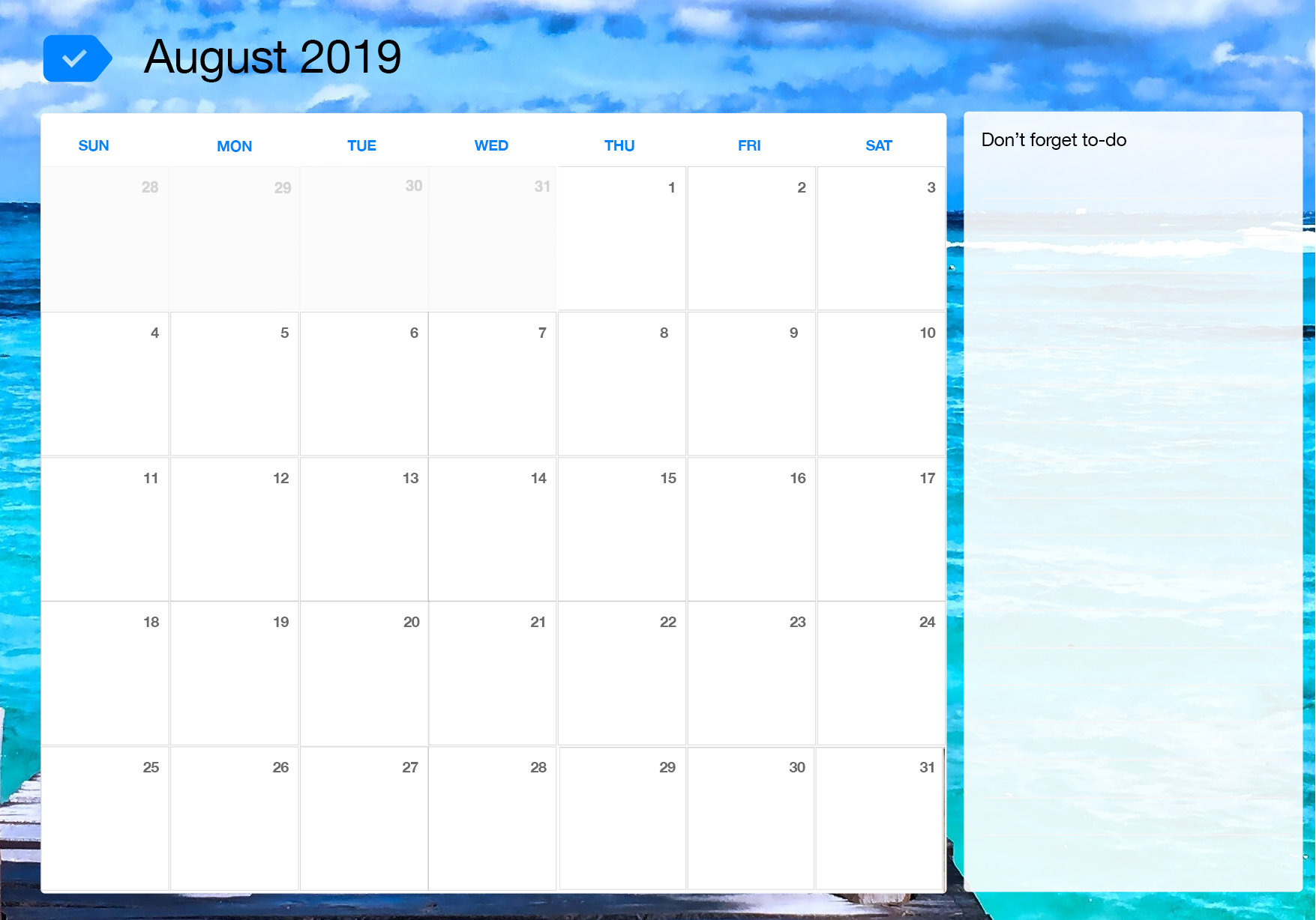 graphic regarding Printable Calendar Aug identify August 2019 Printable Calendar Any.do