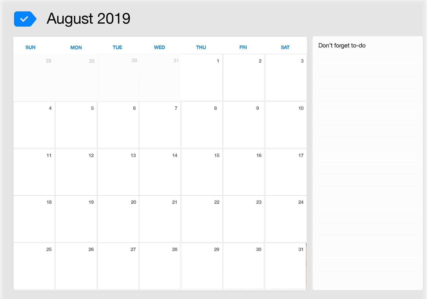 August 2019 Calendar.August 2019 Printable Calendar Any Do