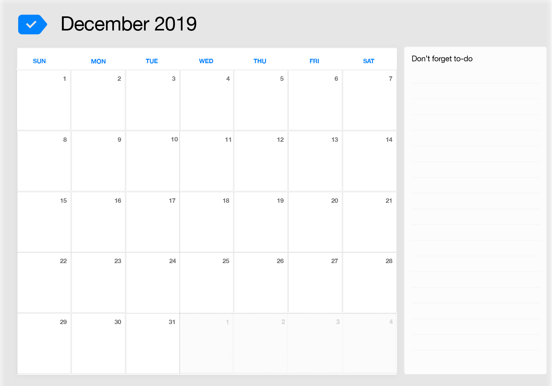 photo relating to Printable December Calendar identify December 2019 Printable Calendar Any.do