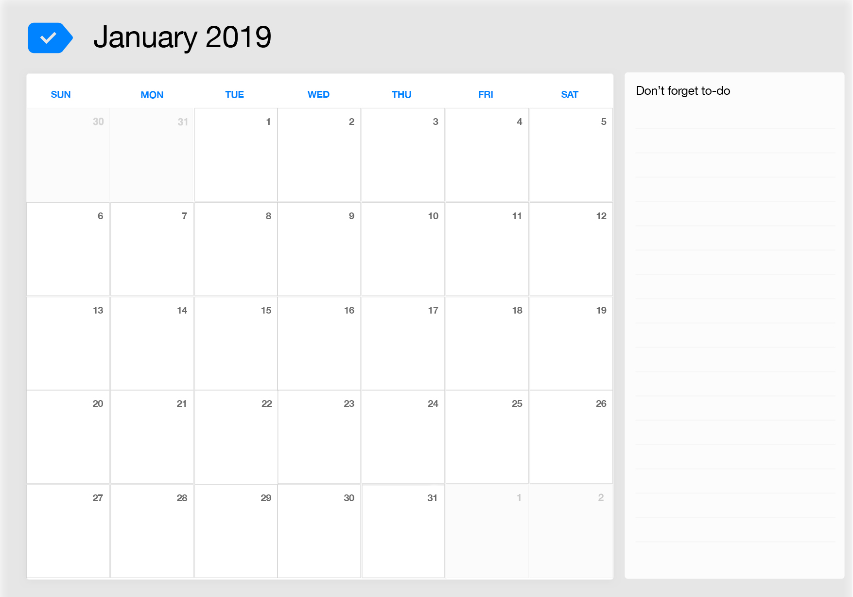 January 2019 Printable Calendar Any Do
