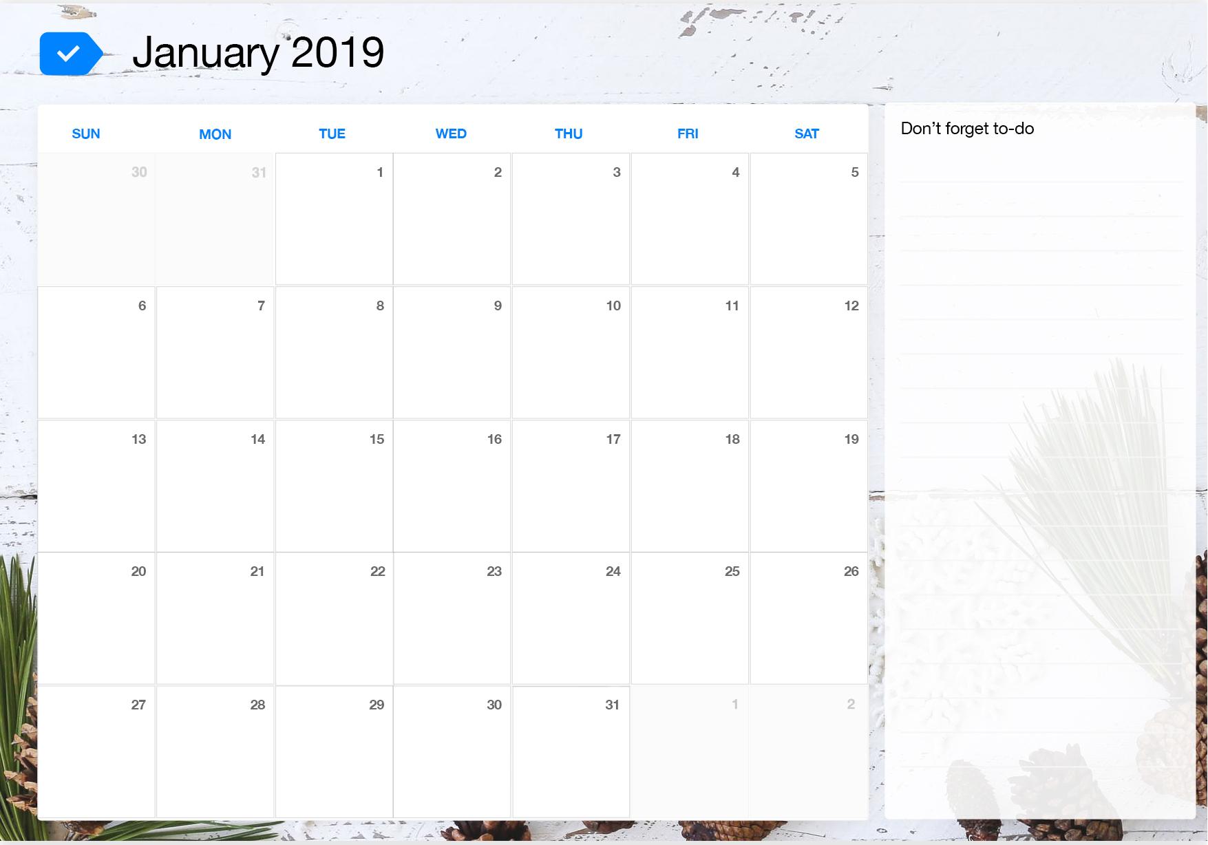 image about Printable Calendar -16 identify January 2019 Printable Calendar Any.do