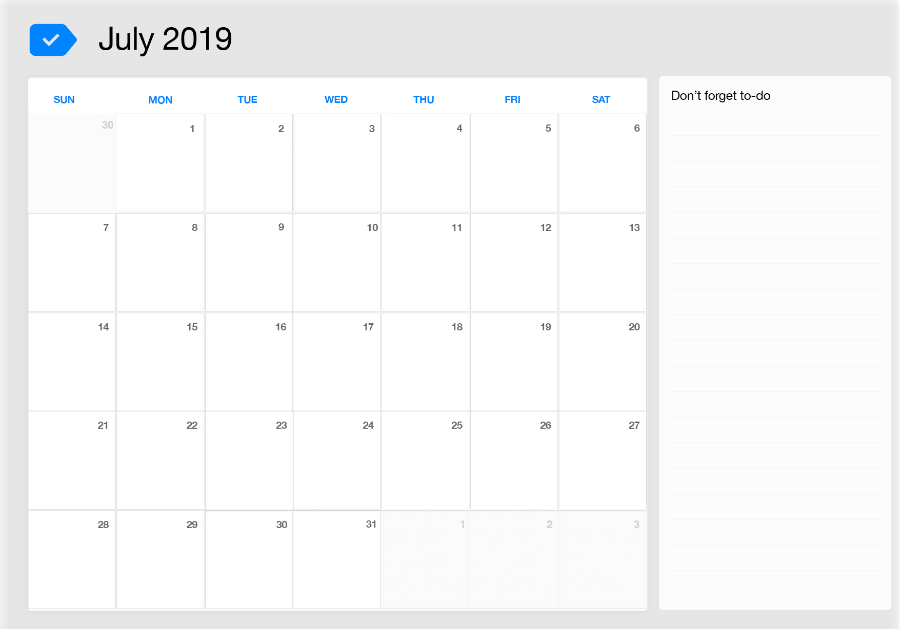July 2019 Printable Calendar Any Do