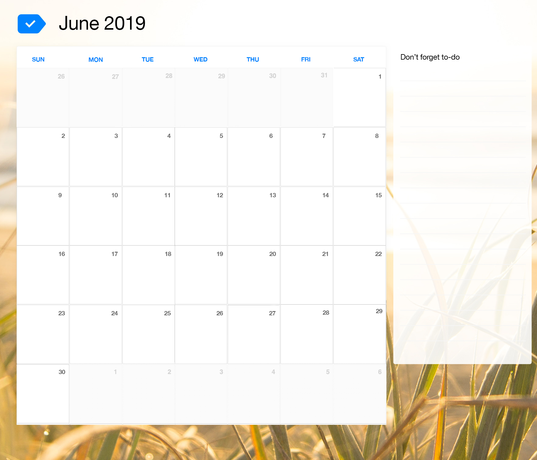 June 2019 Printable Calendar Any Do
