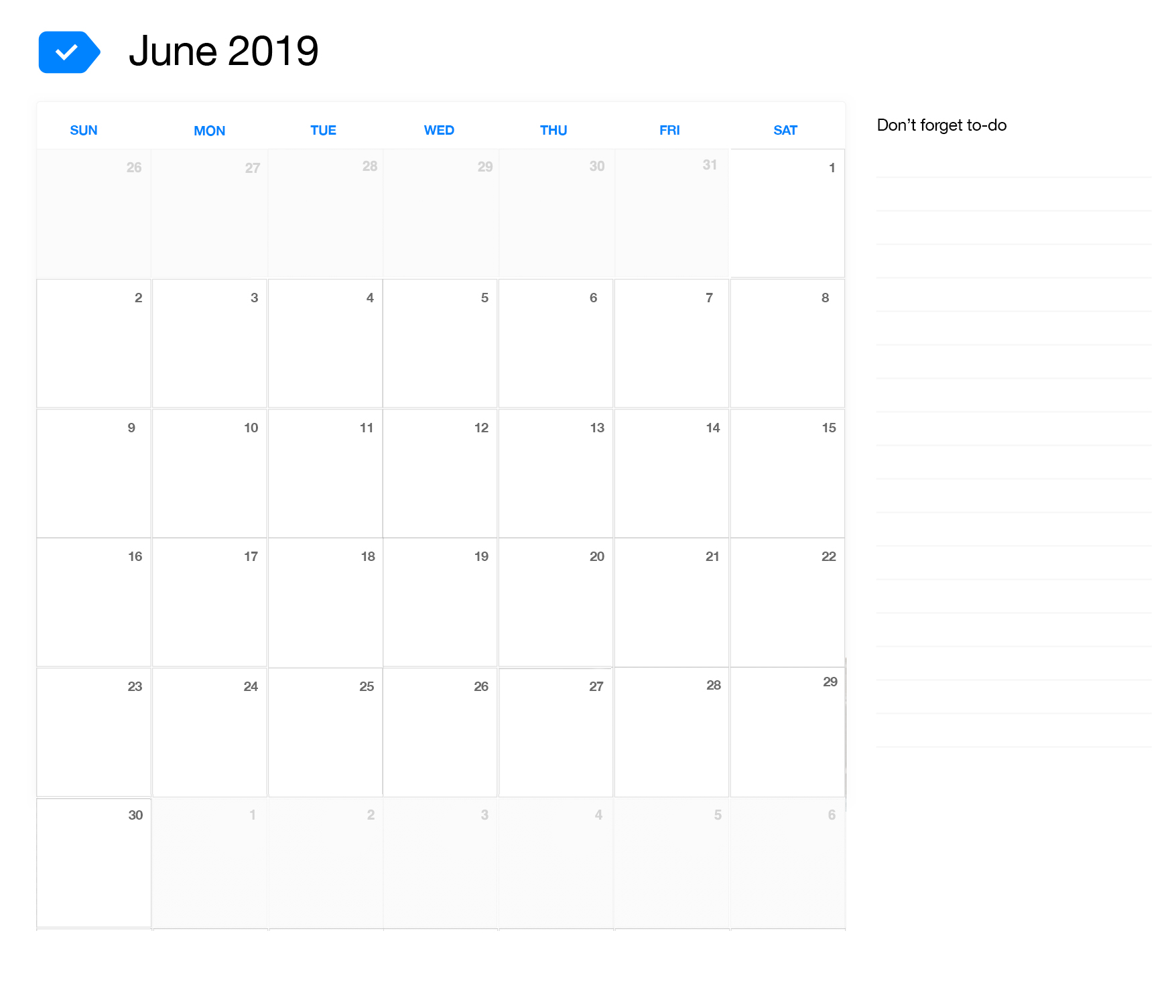 2019 June Calendar.June 2019 Printable Calendar Any Do
