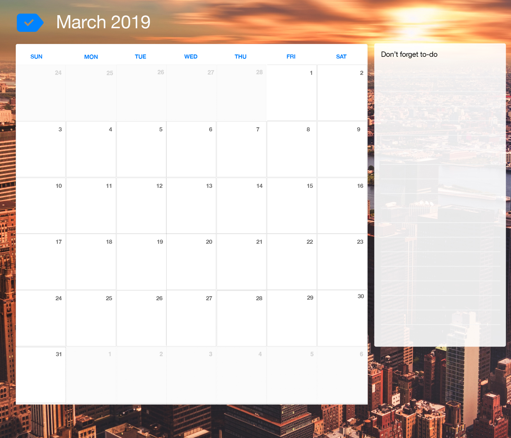 Printable Calendar March 2019.March 2019 Printable Calendar Any Do