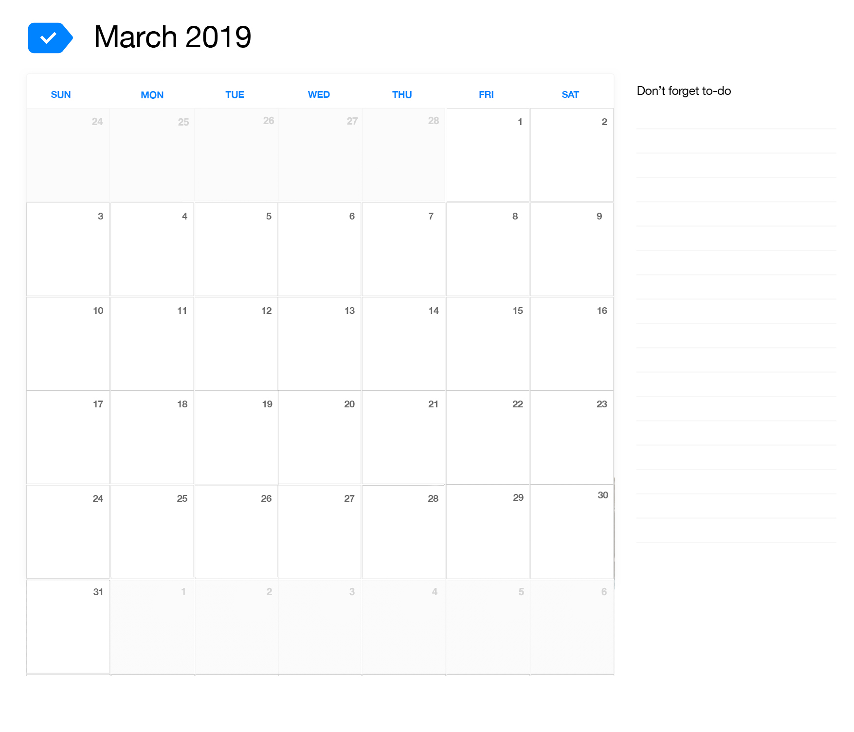 March 2019 Printable Calendar Any Do