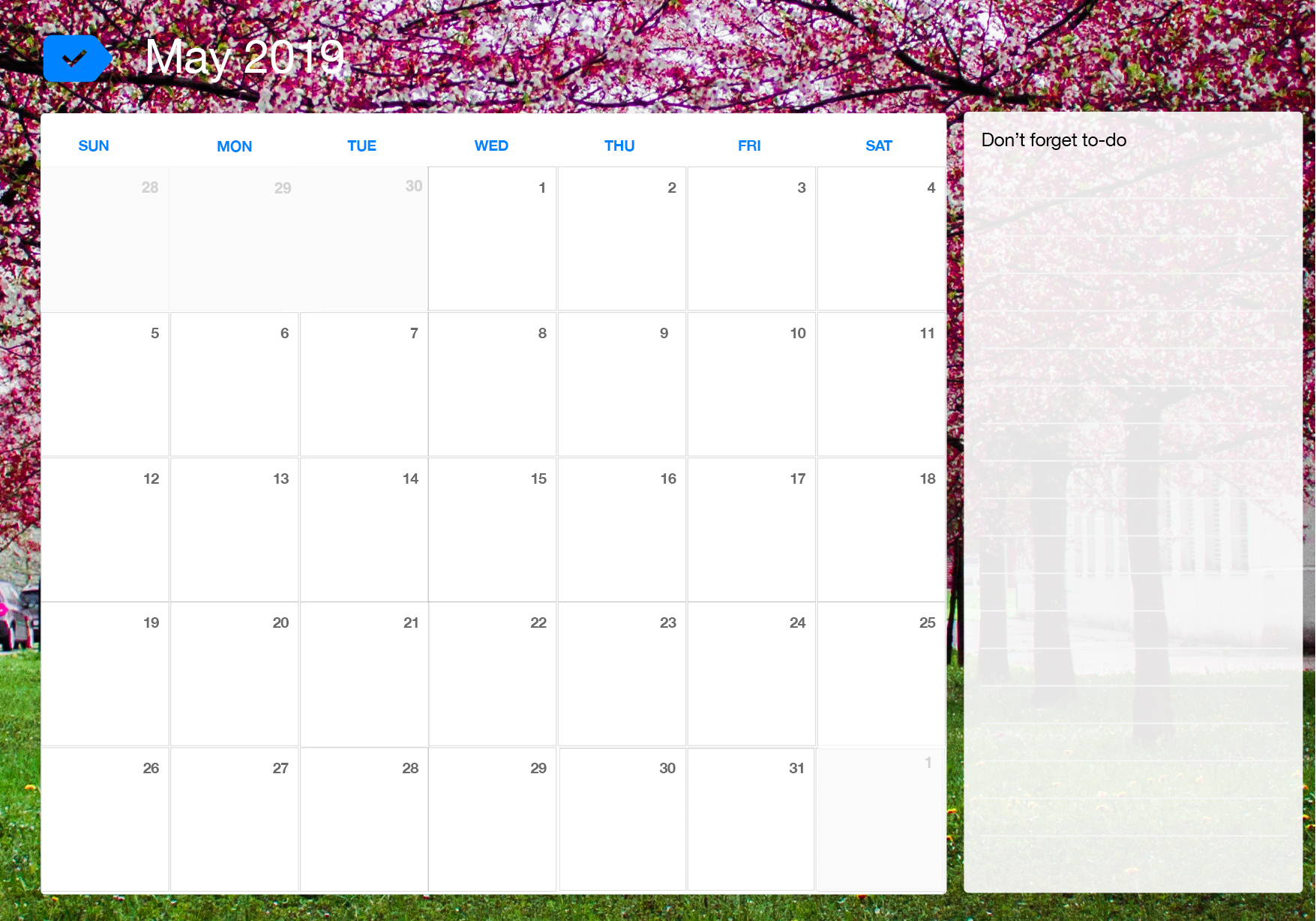 May Printable Calendar.May 2019 Printable Calendar Any Do