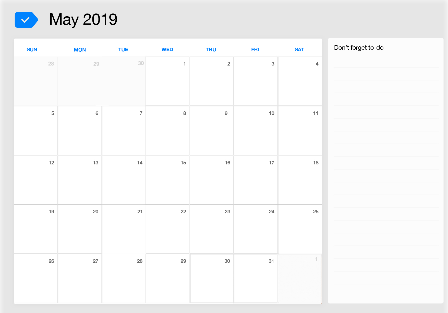 May 2019 Printable Calendar Any Do