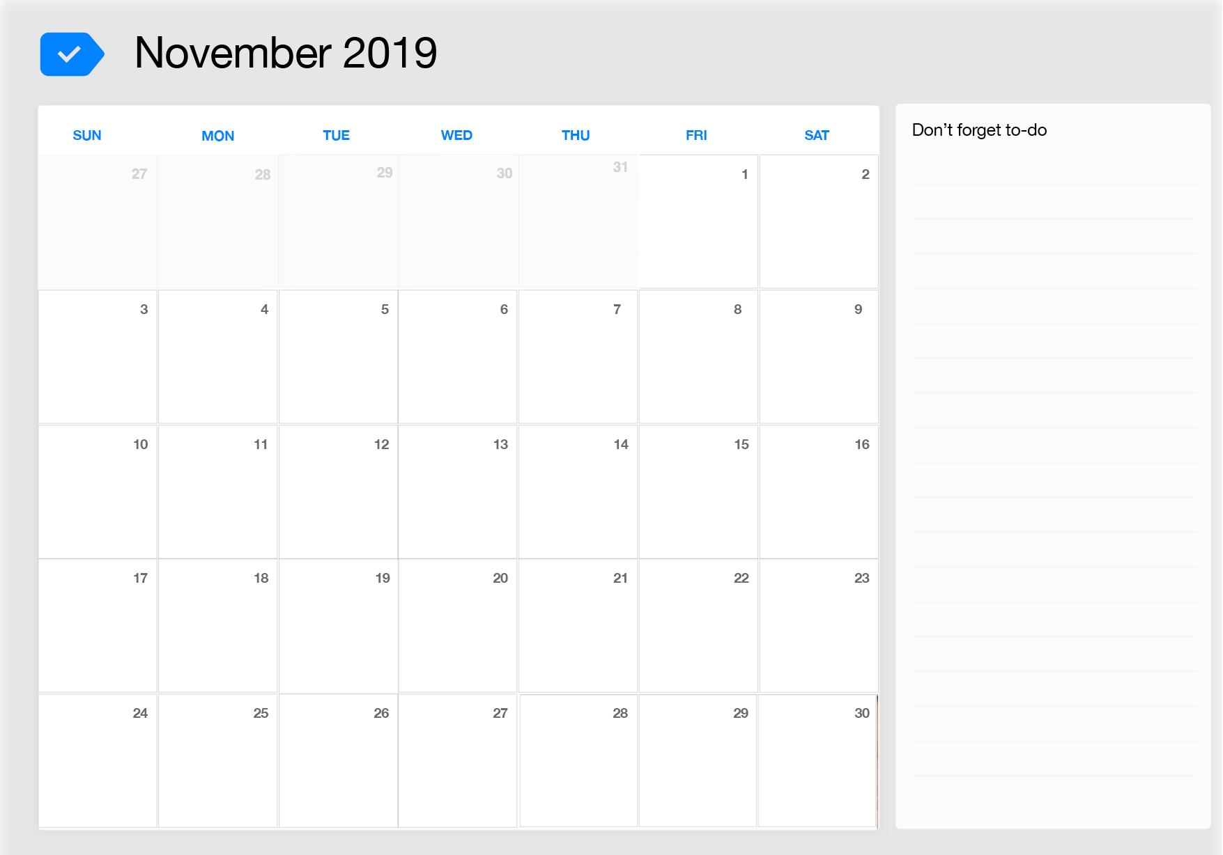 November 2019 Printable Calendar Any Do