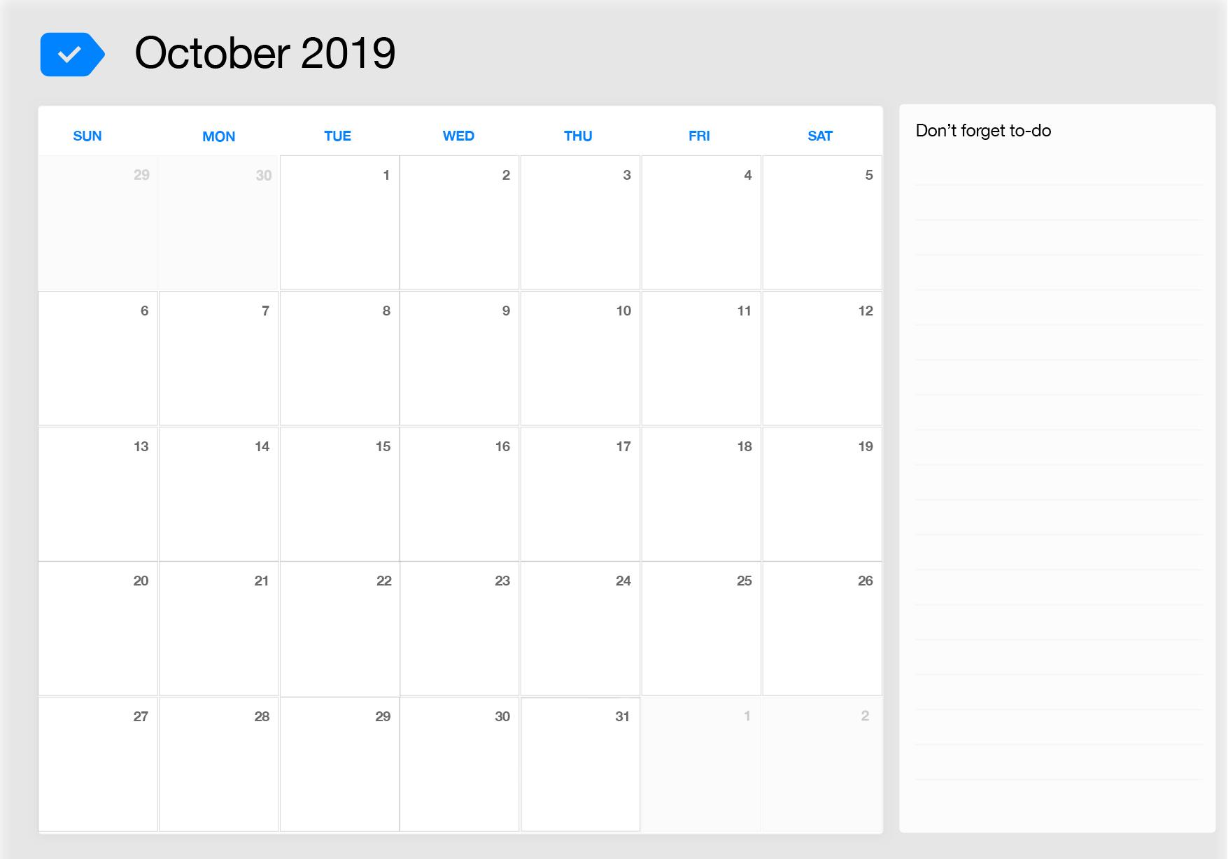 October 2019 Printable Calendar Any Do