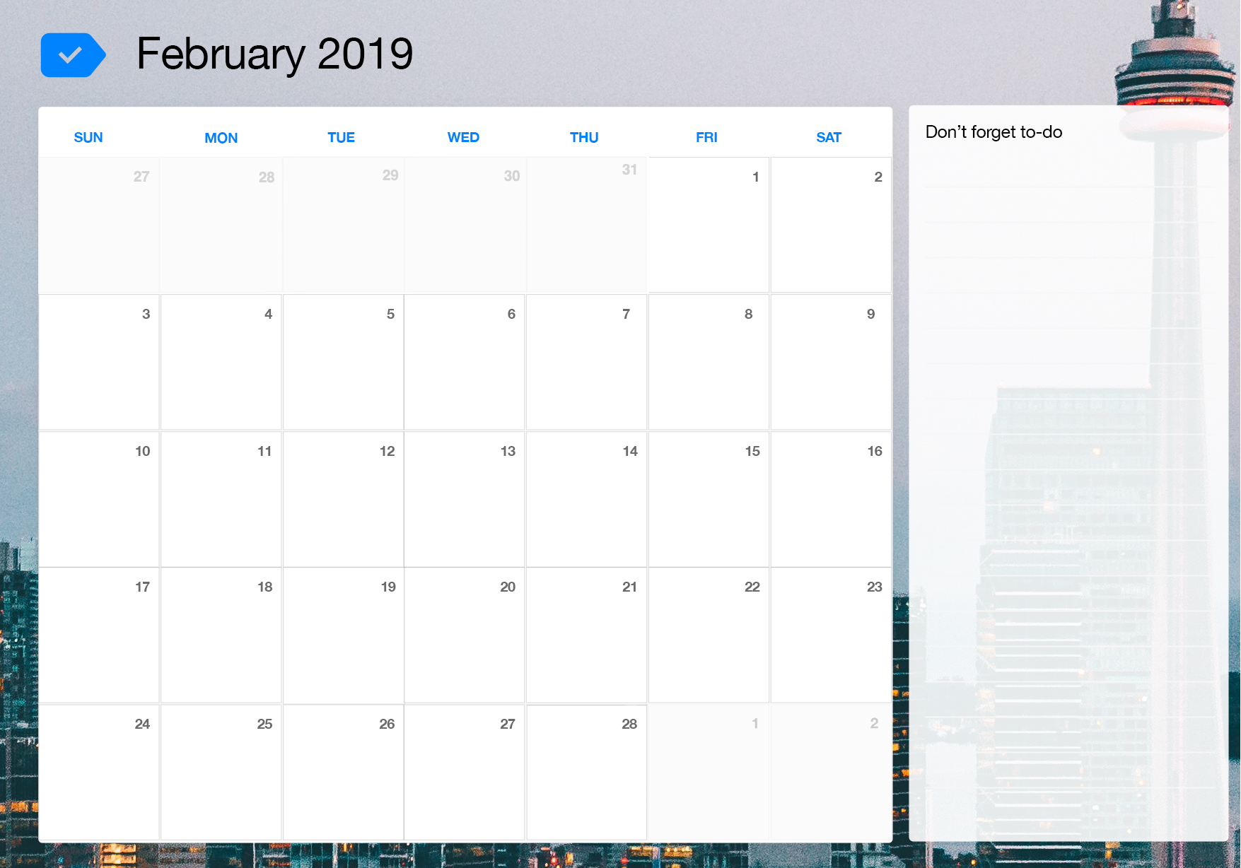 picture relating to Printable Calendar February titled February 2019 Printable Calendar Any.do