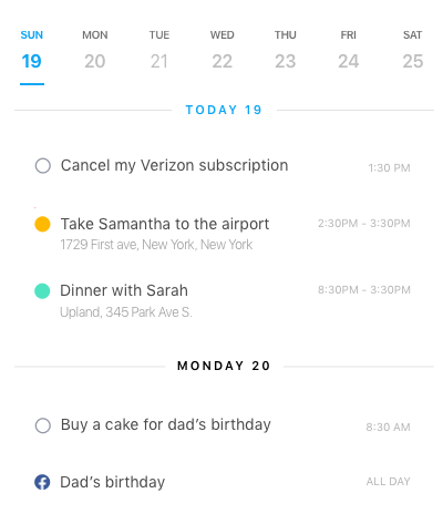 Weekly agenda on Any.do's Calendar