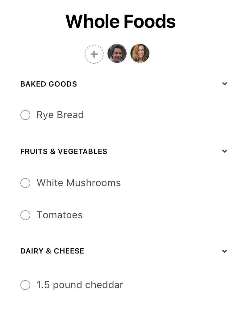 Shared grocery list on Any.do's