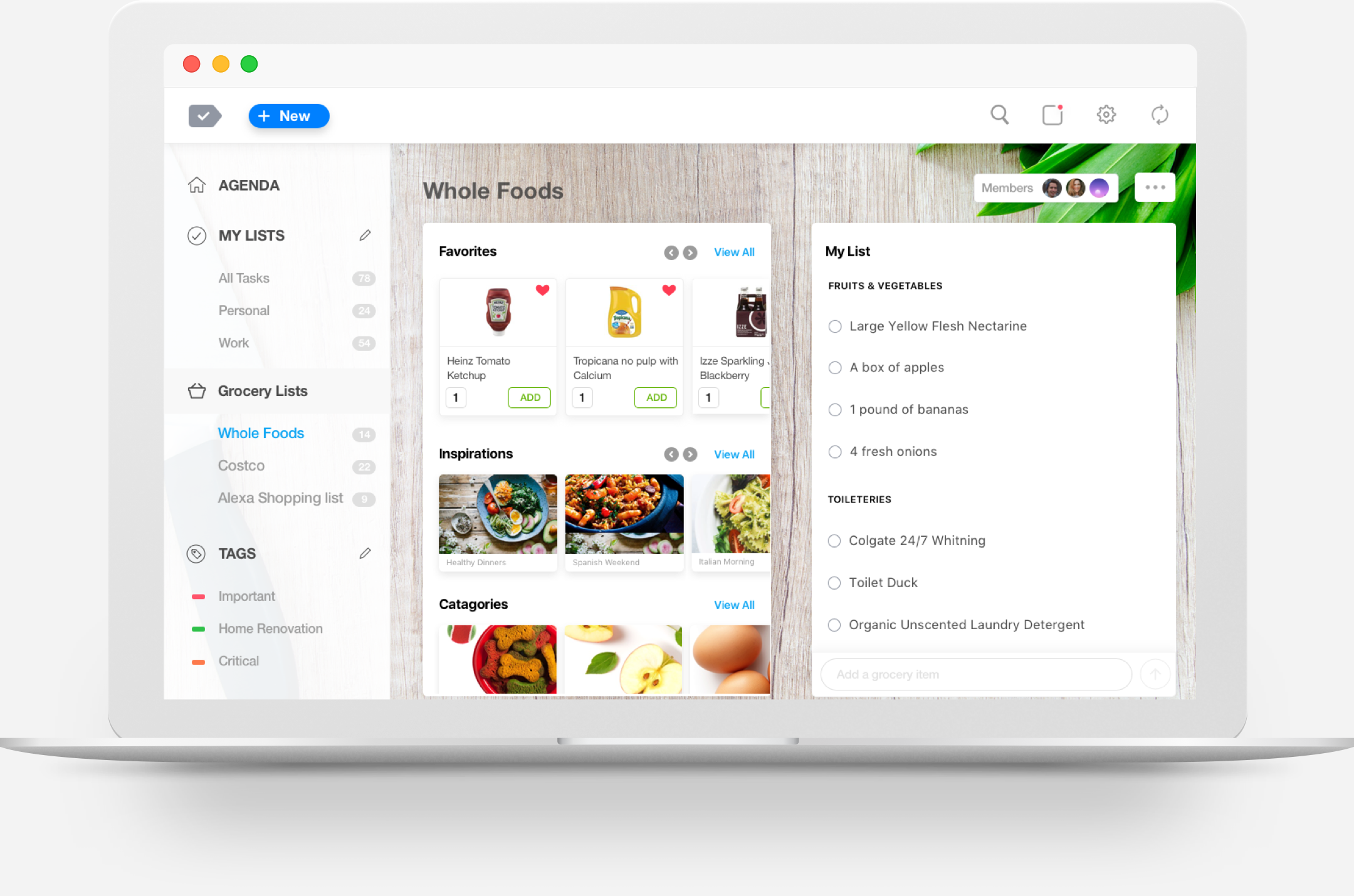 the best grocery list app for web any do