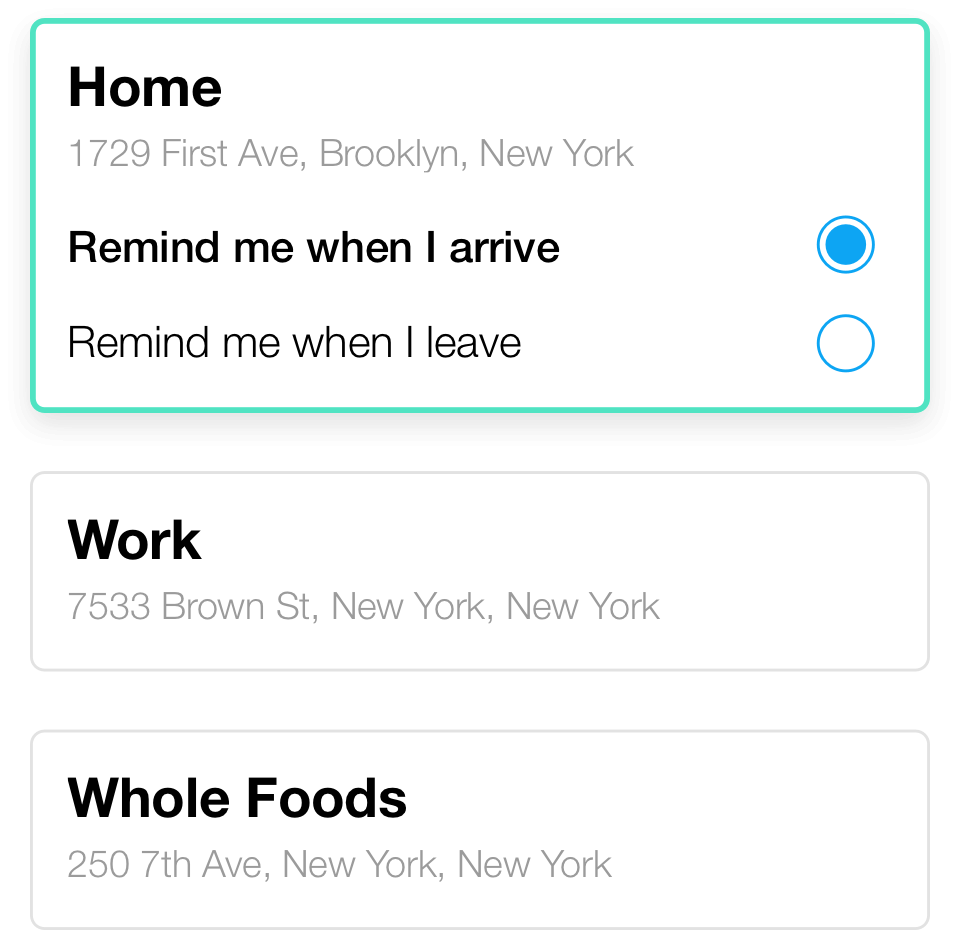 Location reminders for home and work