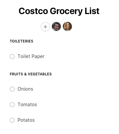 Shared grocery list on Any.do