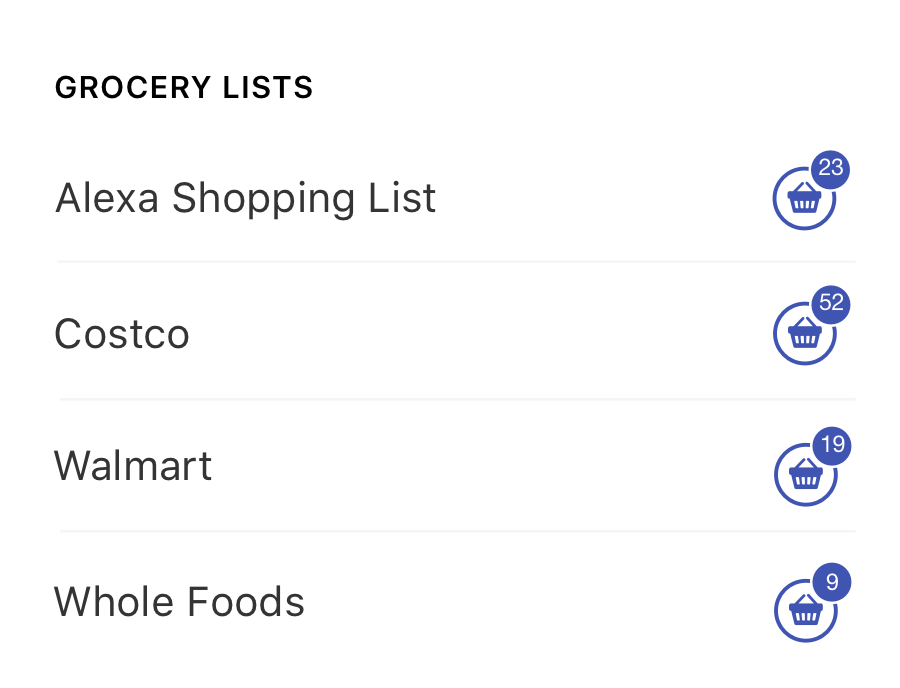 Manage multiple shopping lists
