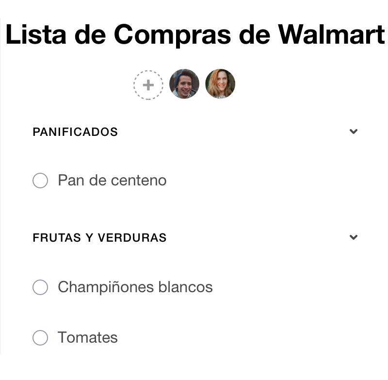 Lista de compras compartida en Any.do