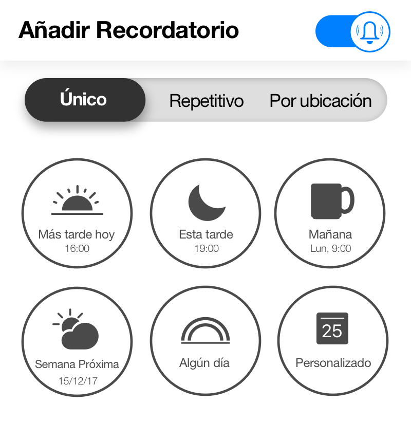 Crea recordatorios únicos, recurrentes, y de ubicación en Any.do